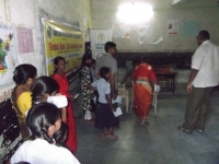 Patients getting their eyes tested