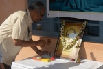 Treasurer Sri B N Moorthy lighting the lamp to mark begning of the camp.